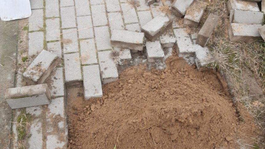 Zdewastowana ścieżka spacerowa w Kamiennej Woli